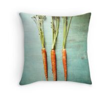 Three Carrots Throw Pillow