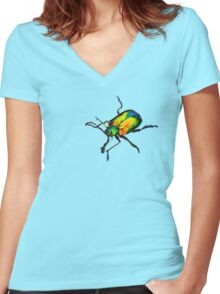 Dogbane leaf beetle Women's Fitted V-Neck T-Shirt