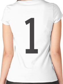 1, TEAM SPORTS, STENCIL, NUMBER 1, ONE, FIRST, Numero Uno, Uno, Ichi, Win, Winner, Competition Women's Fitted Scoop T-Shirt