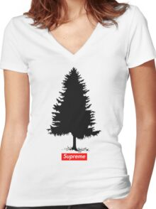 Supreme Tree Women's Fitted V-Neck T-Shirt