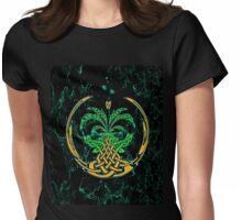 Celtic Tree of Life No2 on an abstract background Womens Fitted T-Shirt