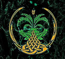 Celtic Tree of Life No2 on an abstract background by Dennis Melling