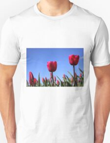Red Tulips in Blue Sky T-Shirt