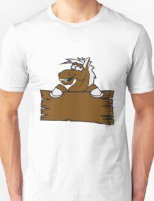 holzschild funny comic cartoon horse wall shield text empty umrandung stall wall pony Unisex T-Shirt