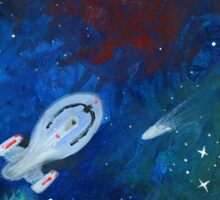 Space painting: USS Voyager Sticker