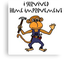 Cool Funny Monkey Handyman Cartoon Canvas Print