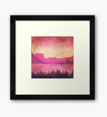 Landscape with a mountain lake at sunset. Retro effect. Framed Print