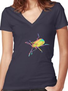 Dogbane leaf beetle - PSYCHEDELIC Women's Fitted V-Neck T-Shirt