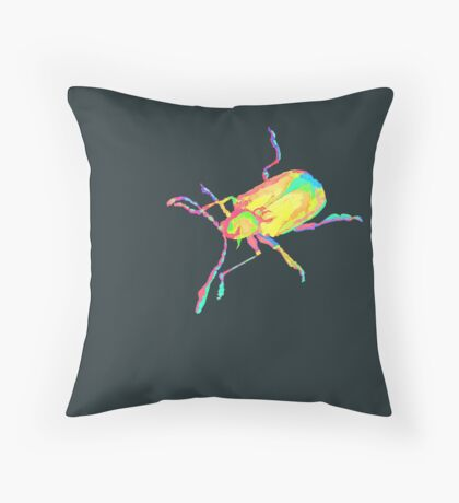 Dogbane leaf beetle - PSYCHEDELIC Throw Pillow