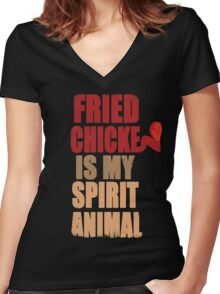 Fried chicken is my Spirit Animal Women's Fitted V-Neck T-Shirt