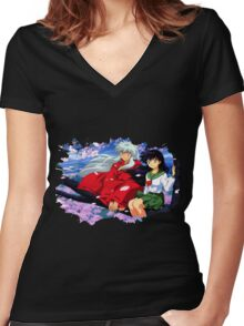 Inuyasha x Kagome Women's Fitted V-Neck T-Shirt