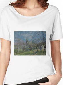Alfred Sisley - Orchard in Spring  Impressionism  Landscape  Women's Relaxed Fit T-Shirt