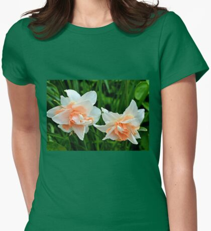 Salmon Pink Daffodils... Lyme .Dorset UK Womens Fitted T-Shirt