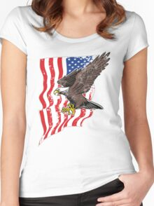 USA Flag and Bald Eagle Women's Fitted Scoop T-Shirt