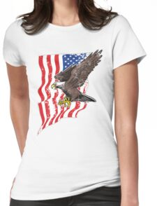 USA Flag and Bald Eagle Womens Fitted T-Shirt