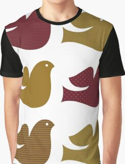 Stylized textured Doves collection - Brown Graphic T-Shirt