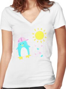 Penny Penguin! Women's Fitted V-Neck T-Shirt