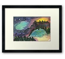 Nightsky and Lake Framed Print