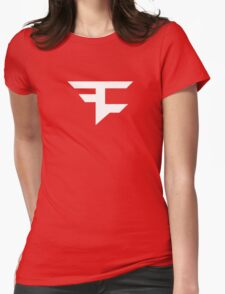 Faze Clan | White Logo | Red Background | High Quality! Womens Fitted T-Shirt