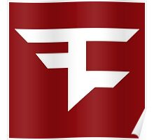 Faze Clan | White Logo | Red Background | High Quality! Poster