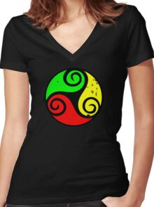 Reggae Flag Chilling Vibes - Cool Reggae Flag Colors Gifts Women's Fitted V-Neck T-Shirt