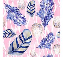 Feathers and Spotted Eggs woodland nature pattern Photographic Print