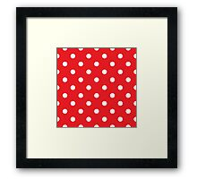 Polka dot fabric. Retro vector background Framed Print