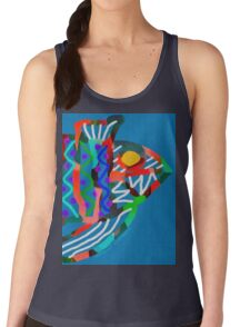 Colorful Abstract Fish Art Drawstring Bag in Yellow and Black  Women's Tank Top