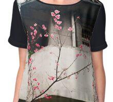Flower Buds Decorative Shirt. Chiffon Top