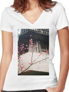 Flower Buds Decorative Shirt. Women's Fitted V-Neck T-Shirt