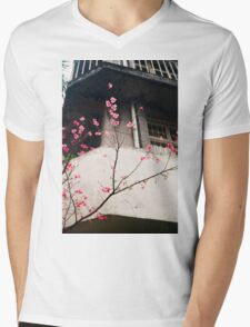 Flower Buds Decorative Shirt. Mens V-Neck T-Shirt