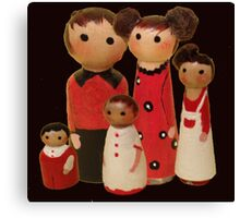 Red Peg Doll Family  Canvas Print