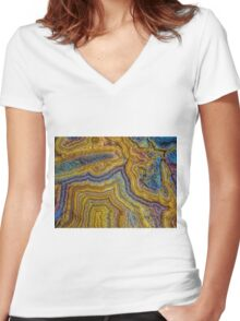 Lace agate stone Women's Fitted V-Neck T-Shirt