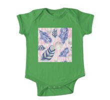 Feathers and Spotted Eggs woodland nature pattern One Piece - Short Sleeve