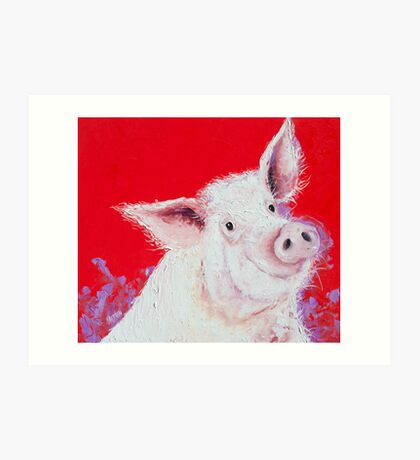 Happy Pink Pig on red Art Print