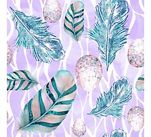 Feathers and Spotted Bird Eggs woodland nature pattern Photographic Print