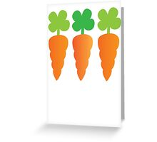Three carrots orange vegetables Greeting Card