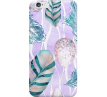 Feathers and Spotted Bird Eggs woodland nature pattern iPhone Case/Skin