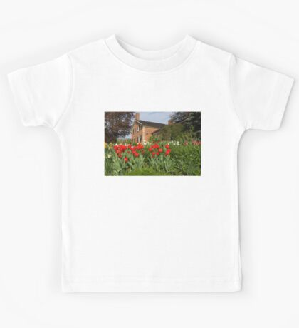 Tulip Garden - Marvelous Spring Flower Beds With Red Tulips and More Kids Tee