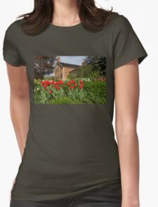 Tulip Garden - Marvelous Spring Flower Beds With Red Tulips and More Womens Fitted T-Shirt