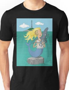 Mermaid and squid on the open sea Unisex T-Shirt