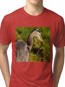 Blue Heron with a Snake in its Bill Tri-blend T-Shirt