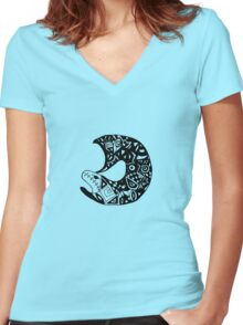 Psychedelic Fish Women's Fitted V-Neck T-Shirt