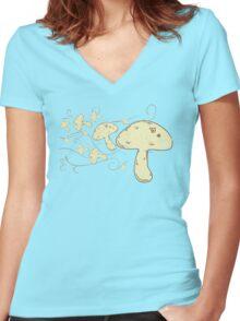 Flying Mushrooms Women's Fitted V-Neck T-Shirt