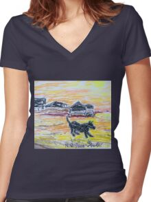 Beach Dog Women's Fitted V-Neck T-Shirt
