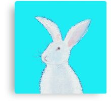 White Easter bunny rabbit on blue Canvas Print