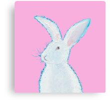 White Easter bunny rabbit on pink Canvas Print