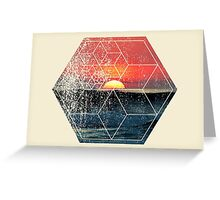 Nature and Geometry - Sunset at Sea Polygonal Design Greeting Card