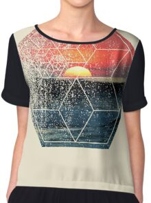 Nature and Geometry - Sunset at Sea Polygonal Design Chiffon Top