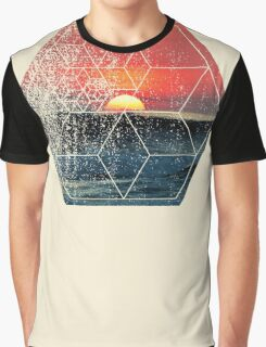 Nature and Geometry - Sunset at Sea Polygonal Design Graphic T-Shirt